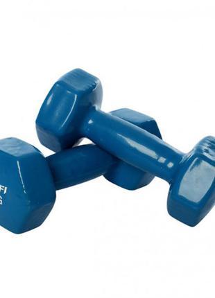 Гантель 4 кг ms 3279 с виниловым покрытием (синий)