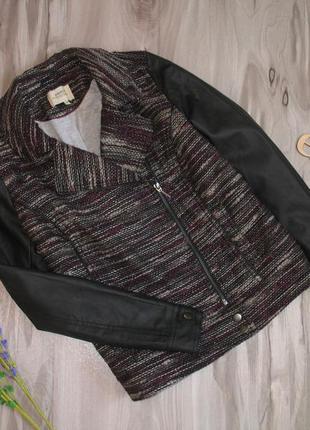 "Трендовая куртка косуха с рукавами кож. зам бренд "" papaya "" р-р eur 40/ 42"