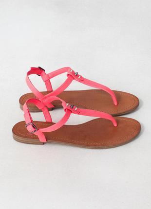 Босоножки pull&bear сандали розовые лососевые коралловые на плоской подошве