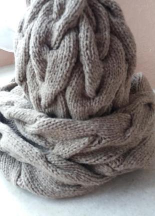 Очень теплый комплект шапка женская вязаная косами и длинный снуд в наличии