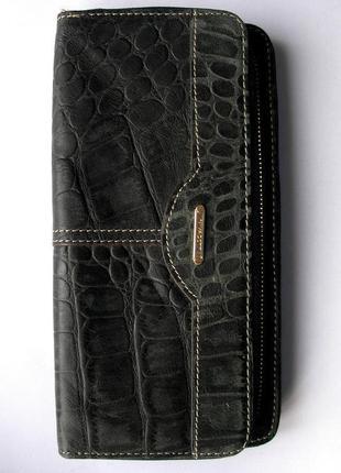 Большой кожаный черный кошелек, nivacott, 100% натуральная кожа. доставка бесплатно
