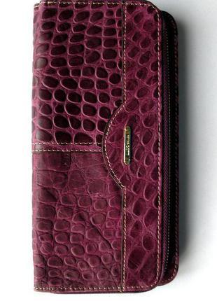 Большой кожаный пурпурный кошелек, nivacott, 100% натуральная кожа. доставка бесплатно