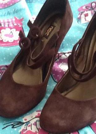 Туфли средний каблук, цвет шоколад, next