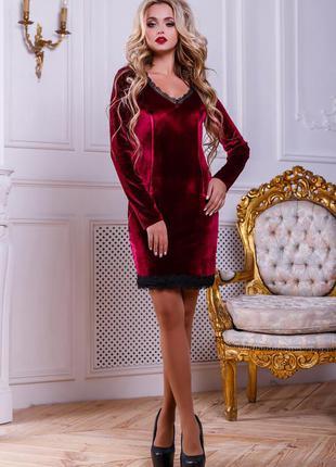 Велюровое красное платье, размер 44