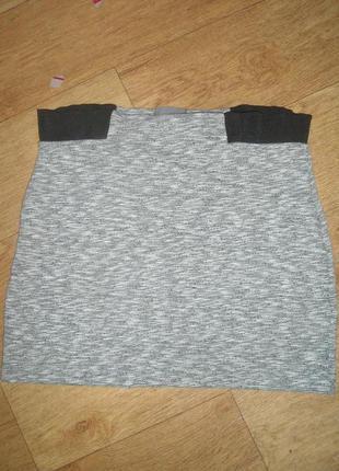 Серая меланжевая юбка