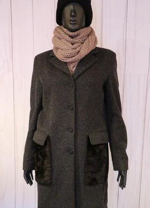 Фирменное шерстяное пальто kookai с меховыми карманами, s-m