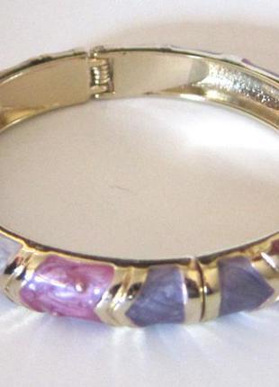 Браслет из бижутерного сплава с эмалью в оттенках фиолетового