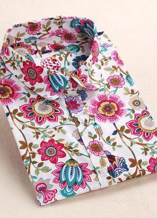 Рубашка блуза в цветочек