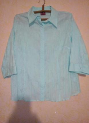 Легкая блузочка нежно ментолового цвета 54-56 размер