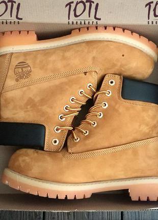 Зимние меховые ботинки timberland 6 in premium wp boot ocher(охра) темные 36-44р