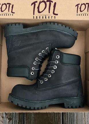 Зимние меховые ботинки timberland 6 in premium wp boot all black(черные) 36-44р.