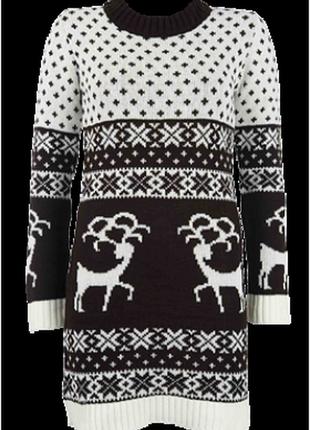 Теплое вязаное платье с оленями #243