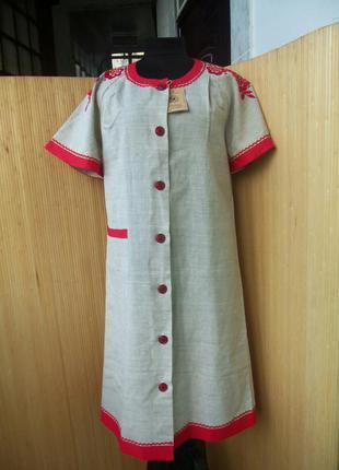 Льняное платье халат с вышивкой в этно стиле