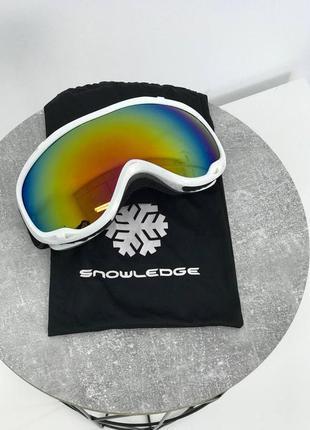 Горнолижна маска біла snowledge маска для катаний на лыжах, сноуборде
