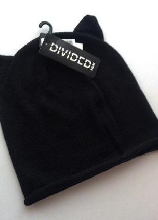 Шапка шапочка вязаная с ушками деми от h&m