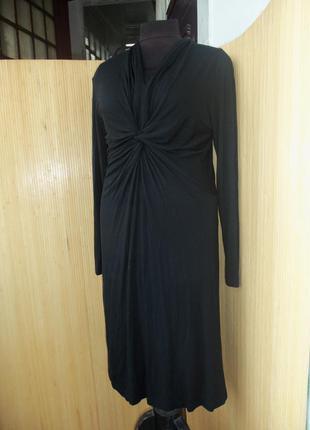 Трикотажное нарядное  чёрное платье