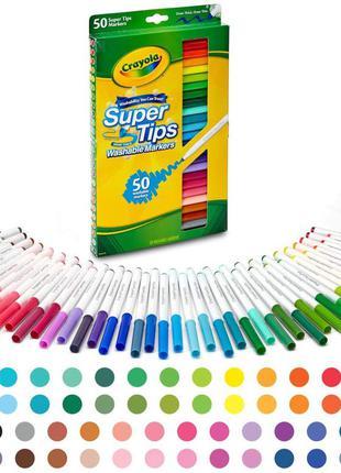 Набір маркерів crayola 50 super tips washable markers