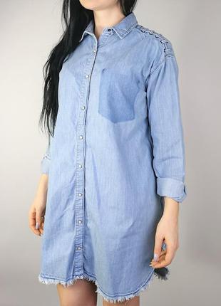 Джинсовое платье-рубашка 183041 pull & bear