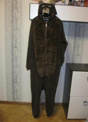 Медведь мишка косолапый кигуруми травка пижама лыжный костюм м-л рост до 177 см