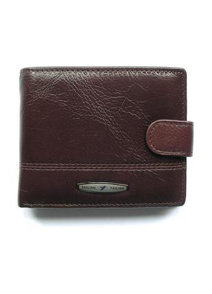 Классическое коричневое кожаное портмоне, 100% натуральная кожа, доставка бесплатно
