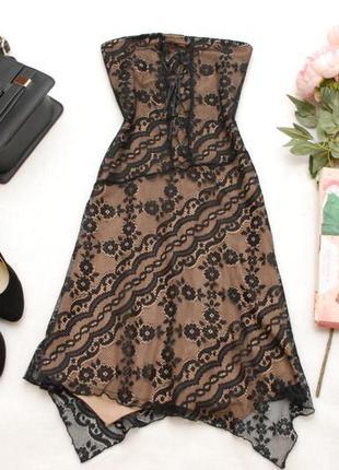 Распродажа окончательная! гипюровое платье-бюстье с ассиметричным низом topshop 6-8uk