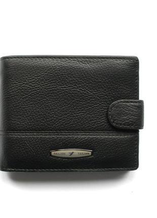 Классическое черное кожаное портмоне, 100% натуральная кожа, доставка бесплатно