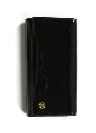 Большой черный кожаный лаковый кошелек, 100% натуральная кожа, доставка бесплатно.