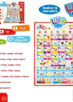 Плакат обучающий детский на английском языке, интерактивный детский плакат  7031 eng-p