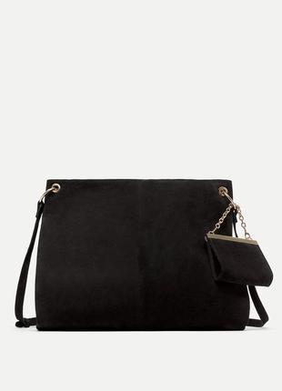 Кожаная сумка с кошельком zara оригинал из испании