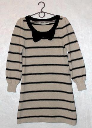 Платье трапеция, туника, теплое, в полоску, вязаное, с бантом