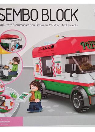 Конструктор sembo block 601305 пиццерия на колесах pizza truck
