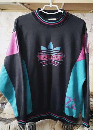 Яркий винтажный свитшот (реглан, толстовка) адидас оригинал в стиле 90х