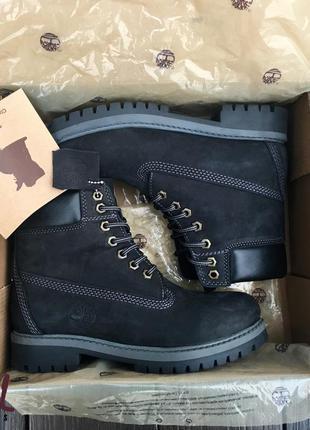 Original! нубуковые ботинки timberland термо (black) черные made-usa 36-47р