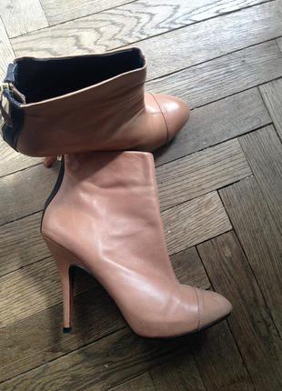 Zara нюдовые персиковые розовые кремовые ботильоны кожа натуральная zara woman basic