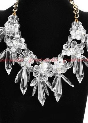 Колье кристаллы прозрачное с цветами