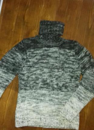 Шерстяной свитер грубой вязки  h&m кофта гольф водолазка