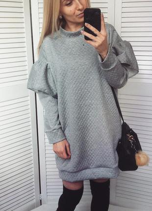 Платье - свитшот / платье с оборками/ теплое платье балахон