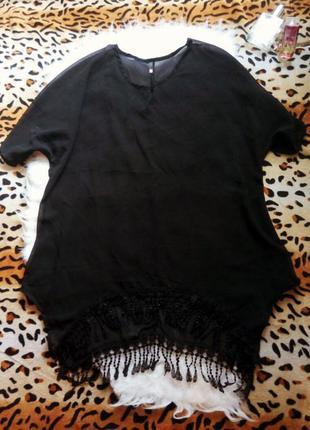 Черная блуза туника размера 18 батал большой размер