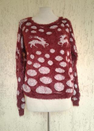 Новогодний свитер катоновый травка красный ,m -х l