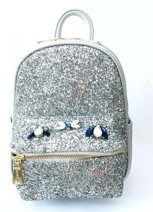 Серебряный, серебристый кожаный рюкзак со стразами , casual