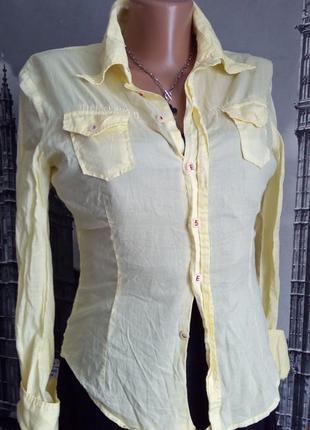 Розпродаж перед оновленням товару, по 99 грн! брендова лимонна хлопкова рубашка