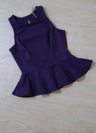 Фиолетовая блузка из неопрена с баской