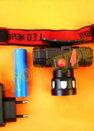Фонарь налобный аккумуляторный bl 0604-t6 с аккумулятором 18650 без стробоскопа