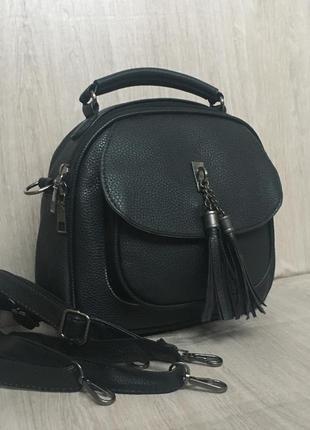 Рюкзак сумка рюкзачек трендовый черный синий с кисточками