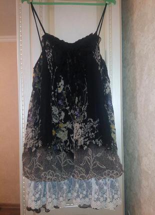 Шелковое платье сарафан с цветочным принтом и кружевом бренд oksana mukha