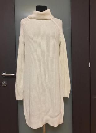 Вязаное платье под горло бежевое kensie
