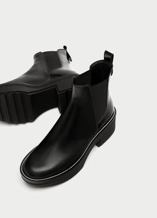 Кожаные ботинки zara 2017