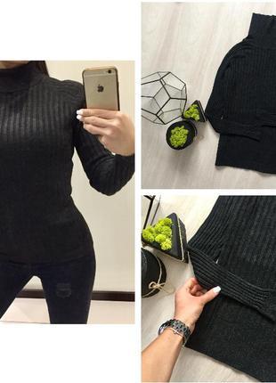 Крутой базовый серый гольф в рубчик / фактурный свитер