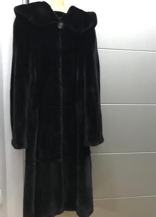 Норковая шуба с капюшоном - blackglama