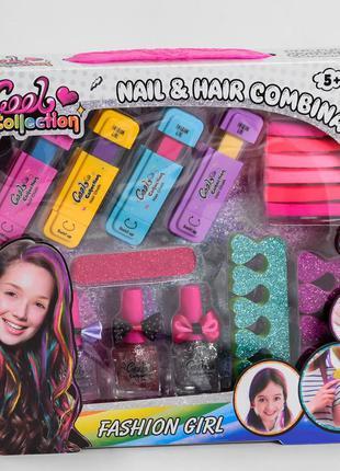 Детская косметика 4 карандаша для волос, 6 резинок, 3 лака, пилочка, 2 разделителя для пальцев, в коробке